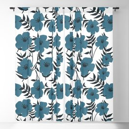 Blue Flowers with Banana Leaves Blackout Curtain