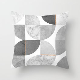 Marble Gray Copper Black and white circles Throw Pillow