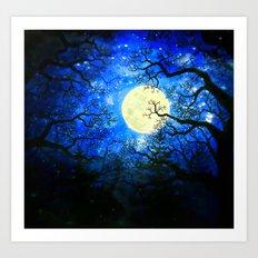 Trees, Stars and the Moon Art Print