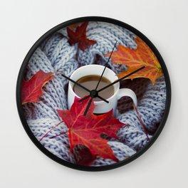autumn coffee Wall Clock