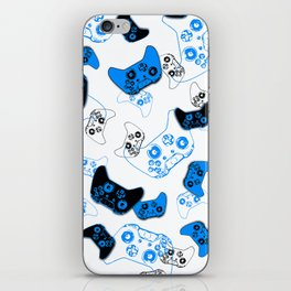Video Game White and Blue iPhone Skin