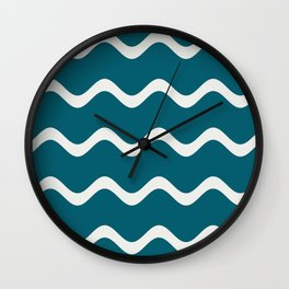 Off White Simple Soft Rippled Horizontal Line Pattern on Tropical Dark Teal Inspired by Sherwin Williams 2020 Trending Color Oceanside SW6496 Wall Clock