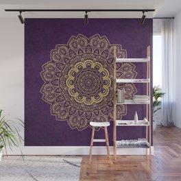 Golden Flower Mandala on Textured Purple Background Wall Mural