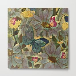 Painterly Flowers and Butterflies Metal Print