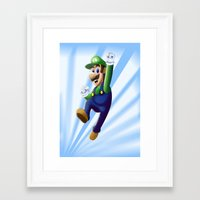 luigi Framed Art Prints featuring Luigi by DROIDMONKEY