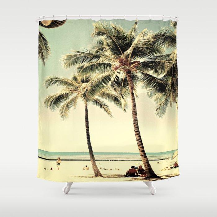 Retro Vintage Palm Tree With Hawaii Summer Sea Beach Shower Curtain