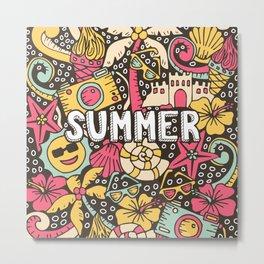 Summer Doodle Metal Print