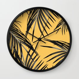 Black Palm Leaves Dream #6 #tropical #decor #art #society6 Wall Clock