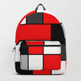 Red Black and Grey squares Backpack