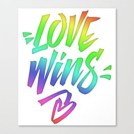 Love Wins Lettering with Rainbow colors Gradient Canvas Print