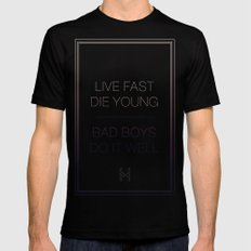 Live Fast | Typography Black Mens Fitted Tee MEDIUM