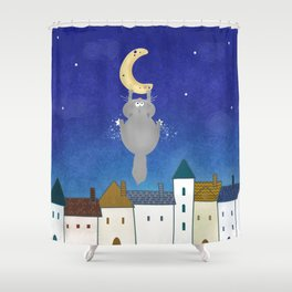 Cat and town Shower Curtain