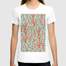 Mint Green and Red Floral Leaves Gouache Pattern T-shirt