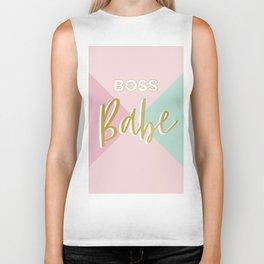 Faux Gold Glitter Boss Babe on simple geometry Biker Tank