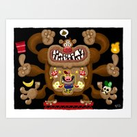 donkey kong Art Prints featuring Mario vs Donkey Kong by Jorge R. Gutierrez