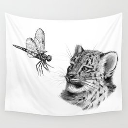 Snow leopard cub and dragonfy G148 Wall Tapestry