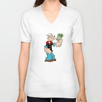 popeye V-neck T-shirts featuring Popeye the Sailor Man by CromMorc