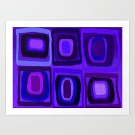 Violets in Blue Windows Art Print