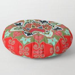 Red Rangoli Floor Pillow