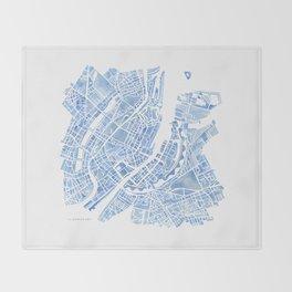 Copenhagen Denmark watercolor city map Throw Blanket