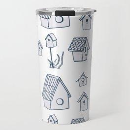 Bird House Drawings, Pattern Travel Mug