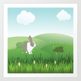 Dutch rabbit in field Art Print