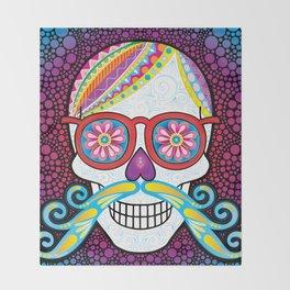 Sugar Skull (Mustachio) Throw Blanket