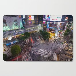 Crowd walking across Shibuya crossing in Tokyo, Japan Cutting Board