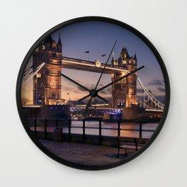 Historic Tower Bridge Thames River London Capital City England United Kingdom Romantic Sunset UHD Wall Clock