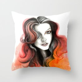 Red and Orange Flame Hair Throw Pillow