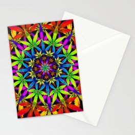 Stoners' Mandala Cannabis Leaves Stationery Cards