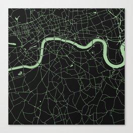 London Black on Green Street Map Canvas Print