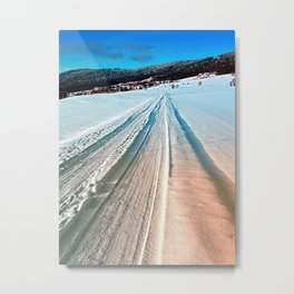 Winter road into the mountains Metal Print
