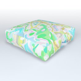 Blue, Yellow, and Green Marbled Outdoor Floor Cushion