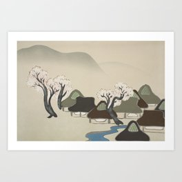 Village with cherry blossoms Art Print