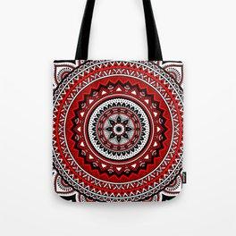 Red and Black Mandala Tote Bag