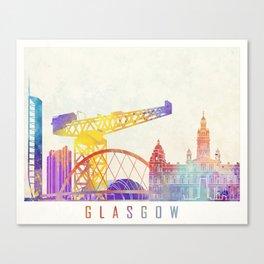 Glasgow landmarks watercolor poster Canvas Print