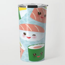 pattern Kawaii funny sushi rolls set with pink cheeks and big eyes, emoji Travel Mug