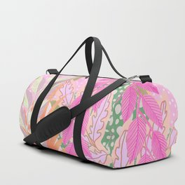 Modern Jungle Plants - Pink Green Purple Duffle Bag