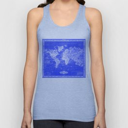 Vintage Map of The World (1833) Blue & White Unisex Tank Top
