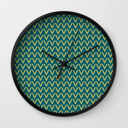 Dark Yellow V Shape Horizontal Line Pattern on Tropical Dark Teal Inspired by Sherwin Williams 2020 Trending Color Oceanside SW6496 Wall Clock