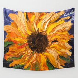 Fiery Sunflower - Original Painting Wall Tapestry