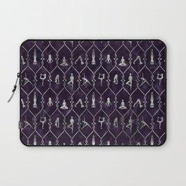 Pearl Yoga Asanas pattern on amethyst Laptop Sleeve