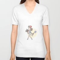 bonjour V-neck T-shirts featuring bonjour by Mandie Kuo