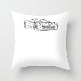 Auto Sports Car - One Line Drawing Throw Pillow