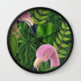 Flamingos in the Rain Forest Wall Clock