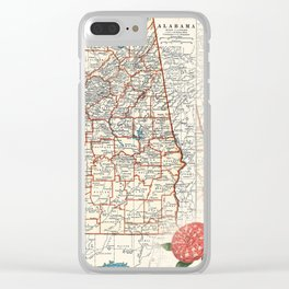 Alabama map with Camelias Clear iPhone Case