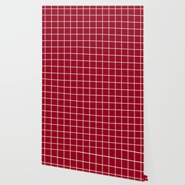 Carmine - purple color -  White Lines Grid Pattern Wallpaper