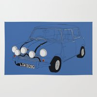 mini cooper Area & Throw Rugs featuring The Italian Job Blue Mini Cooper by Martin Lucas