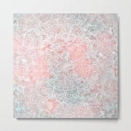 Bright Pink Mandala Design Metal Print